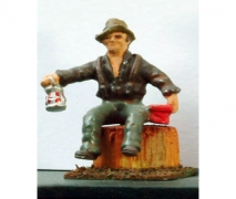 Workman Seated With Lantern
